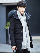 Men's Long Down Coat,Simple Going out Solid-Polyester Polypropylene Long Sleeve