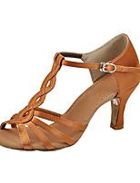 Non Customizable Women's Latin Silk Sandals Indoor Flared Heel Brown Black