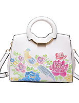 Women Bags All Seasons PU Shoulder Bag with Pattern / Print for Casual Green White Black Blushing Pink