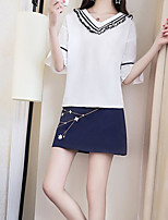 Women's Going out Casual/Daily Casual Summer Blouse Skirt Suits,Solid V Neck Half Sleeve strenchy