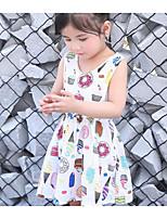 Robe Fille de Imprimé Coton Lin Eté Sans Manches