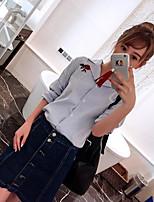 Damen Blumen Moderne Normal Shirt Rock Anzüge,Hemdkragen Sommer Mikro-elastisch