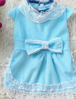 Dog Dress Dog Clothes Casual/Daily Princess Blue Blushing Pink