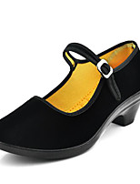 Women's Heels Vintage Customized Materials Spring Summer Casual Chunky Heel Black Under 1in