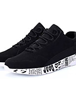 Men's Sneakers Comfort Spring Fall PU Casual Lace-up Flat Heel Black Ruby Black/White Flat