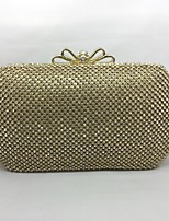 Women Evening Bag Metal All Seasons Event/Party  Push Lock Silver Black Gold