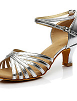 Women's Latin Leatherette Heels Indoor Customized Heel Silver Customizable