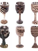 1PCS Double Wall Resin Stainless Steel 3D Skull Drinking Mug Personalized Dragon Bone Skull Metal Wine Goblet Cup Mug Ramdon Color