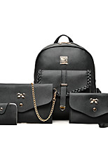 Women Bags All Seasons PU Bag Set with for Wedding Event/Party Casual Formal Office & Career White Black Gray