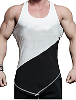 Men's Running Tank Quick Dry Breathability Comfortable Casual/Daily Tank for Running/Jogging Exercise & Fitness Elastane Slim White Black