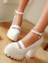 Women's Shoes PU Spring Comfort Heels For Casual White Black