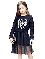 Girl's Cartoon Dress,Cotton Autumn/Fall Summer Long Sleeve