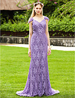 2017 LAN TING BRIDE Sweep / Brush Train V-neck Bridesmaid Dress - Open Back Elegant Short Sleeve Lace