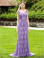 LAN TING BRIDE С коротким шлейфом V-образный вырез Платье для подружек невесты - Открытая спина Elegant С короткими рукавами Кружева