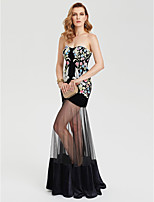 TS Couture Formal Evening Dress - Celebrity Style See Through Sexy Sheath / Column Sweetheart Floor-length Tulle Velvet with Pattern