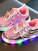 Kids Boys Girl's Sneakers Light Up Shoes Tulle Leatherette Spring Summer Fall Casual Outdoor Walking Light Up Shoes Magic Tape LED Low HeelBlushing