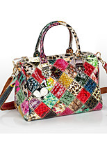 Women Bags All Seasons Cowhide Tote with Appliques Plaid Split Joint for Casual Rainbow