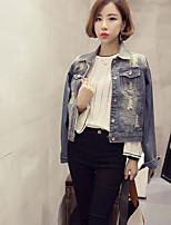 Women's Daily Jackets Spring/Fall Denim Jacket,Solid Shirt Collar Long Sleeve Short Denim