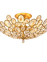 LightMyself 3 Lights Golden Modern Crystal Ceiling Lamp Indoors Lights for Living Room Bedroom Dining Room