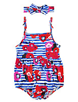 Baby Girls Romper Harness Bodysuits with Headband for Kids Baby Stripe Floral One-Pieces Cotton Blends Summer Sleeveless
