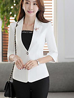 Women's Casual/Daily Simple Spring/Fall Blazer,Solid Notch Lapel Long Sleeve Short Polyester