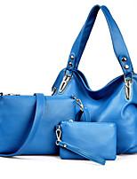 Women Bag Sets PU All Seasons Event/Party Formal Office & Career Geometric Rivet Zipper Zipper Brown Black Blue