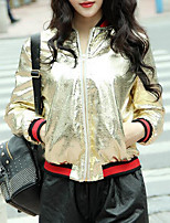 Women's Daily Modern/Comtemporary Spring Leather Jacket,Print Round Neck Long Sleeve Short Others