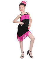 Latin Dance Dresses Kid's Performance Ice Silk Flower Tassel(s) 1 Piece Sleeveless High Dresses