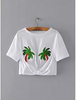 Tee-shirt Femme,Fleur arbres/Feuilles Sortie Décontracté / Quotidien Sexy simple Chic de Rue Eté Manches Courtes Col Arrondi CotonFin