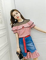 Women's Daily Casual Contemporary Summer T-shirt Skirt Suits,Lines / Waves Round Neck Short Sleeve