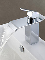 Contemporary Waterfall Single Handle One Hole for  Chrome  Bathroom Basin Sink Faucet
