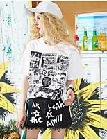 Tee-shirt Femme,Couleur Pleine Imprimé Citations & Dictons Quotidien Décontracté simple Manches Courtes Col Arrondi Coton Viscose