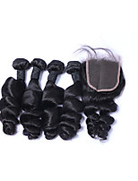 100% Unprocessed 4pcs/Lot 400g Deep Wave Brazilian Remy Human Hair Wefts with 1Pcs 4x4 Lace Top Closures Natural Black Human Hair Extensions/Weaves