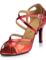 Women's Latin Synthetic Microfiber PU Heels Indoor Buckle Navy Blue Ruby Gold 2