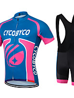 CYCOBYCO Sports Cycling Jersey with Bib Shorts Men's Short Sleeve Bike Breathable / Quick Dry / Moisture Permeability / 3D Pad / Reduces Chafing