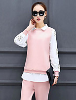 Women's Daily Casual Casual Spring Hoodie Pant Suits,Solid Stand Long Sleeve