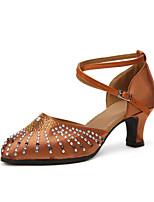 Women's Modern Satin Heels Indoor Rhinestone Splicing Customized Heel Ruby Brown 2