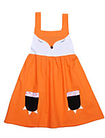 Girl's Cartoon Dress Cotton Summer Sleeveless Fox Design Cartoon Hanging Neck Kids Girls Dress