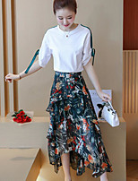 Women's Daily Going out Contemporary Fall T-shirt Skirt Suits,Print Round Neck Short Sleeve Micro-elastic