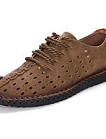 Men's Sneakers Comfort Spring Fall Cowhide Casual Black Brown Khaki Flat