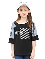 Girls' Geometric Lolita Tee,Cotton Polyester Summer Half Sleeve Regular