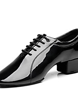Men's Latin Indoor Patent Leather Heels Professional Black