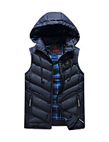 Men's Regular Padded Coat,Simple Daily Casual Solid Striped-Cotton Polyester Cotton Sleeveless