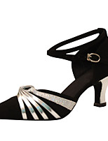 Women's Latin Silk Sandals Performance Criss-Cross Cuban Heel Black/Silver Black-white 2
