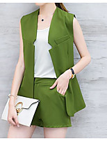 Women's Daily Casual Casual Active Summer T-shirt Pant Suits,Solid Color Block Round Neck Sleeveless