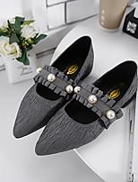 Для женщин Мокасины и Свитер Удобная обувь Полиуретан Весна Повседневные Удобная обувь Черный Серый На плоской подошве