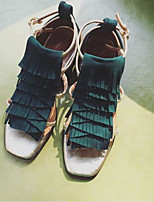 Для женщин Обувь на каблуках Туфли лодочки Кожа Лето Осень Повседневные Туфли лодочки На толстом каблуке Темно-зеленый 2,5 - 4,5 см