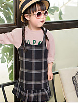 Girl's Check Dress,Cotton Spring Sleeveless