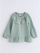 Girls' Solid Color Blouse,Cotton Spring/Fall Long Sleeve