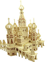 Jigsaw Puzzles DIY KIT 3D Puzzles Building Blocks DIY Toys Architecture Other Natural Wood